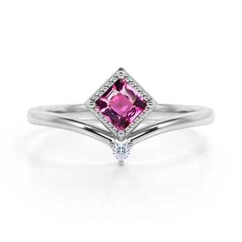 Geometric 1.05 Carat Princess Cut Burmese Tourmaline and 2 Stone Diamond Contour Engagement Ring in White Gold