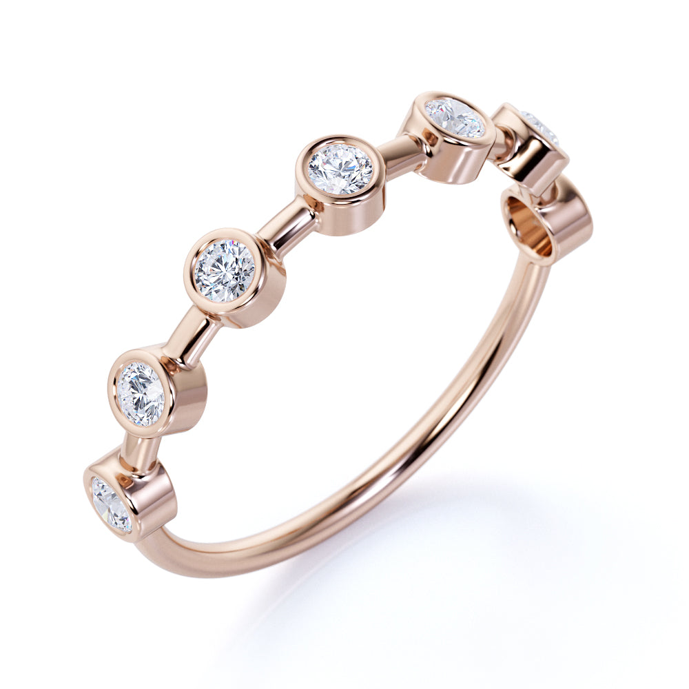 Vintage 7 Stone Round Cut Authentic Diamond and Dainty Stack Ring for Mothers in Rose Gold