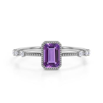 7 Stone Design 1.25 Carat Emerald Cut Amethyst and Diamond Vintage Engagement Ring in White Gold