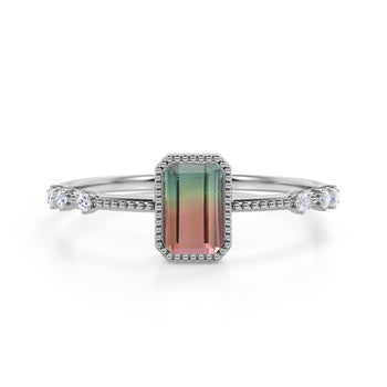 7 Stone Design 1.25 Carat Emerald Cut Watermelon Tourmaline and Diamond Vintage Engagement Ring in White Gold