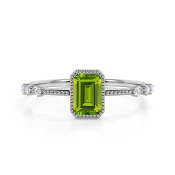 7 Stone Design 1.25 Carat Emerald Cut Peridot and Diamond Vintage Engagement Ring in White Gold