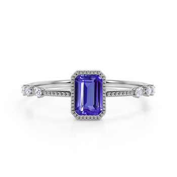 7 Stone Design 1.25 Carat Emerald Cut Purple Tanzanite and Diamond Vintage Engagement Ring in White Gold