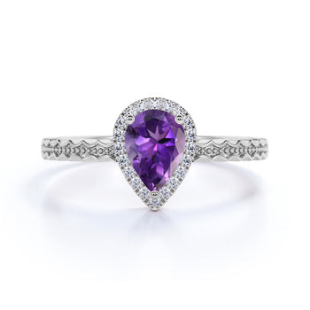 Wave Design 1.50 Carat Pear Cut Vera Cruz Amethyst and Diamond Zigzag Engagement Ring in White Gold