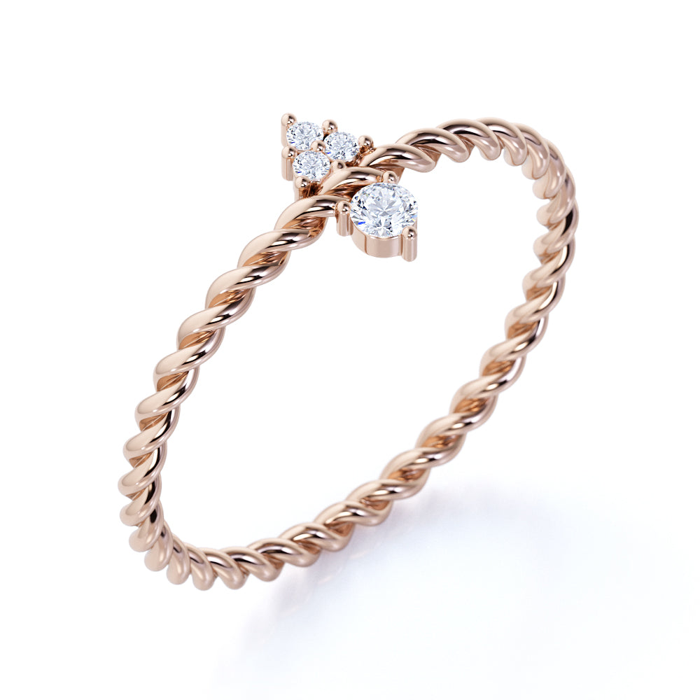 Vintage Inspired Teardrop Authentic Diamond and Minimalist Promise Ring in Rose Gold