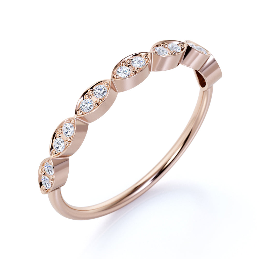 Classy Round Cut Authentic Diamond and Dainty Stackable Ring in Rose Gold