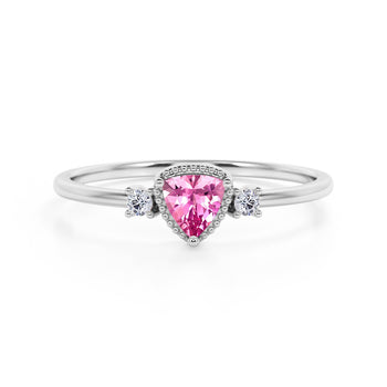 Triad Design 1.35 Carat Trillion Cut Red Tourmaline and Diamond Beaded Milgrain Engagement Ring in White Gold