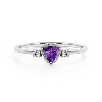 Triad Design 1.35 Carat Trillion Cut Amethyst and Diamond Beaded Milgrain Engagement Ring in White Gold
