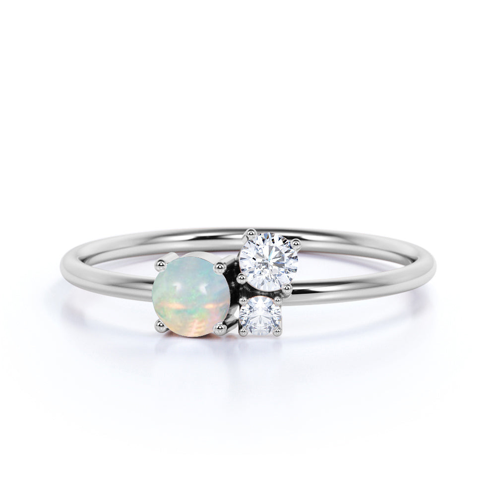 Mini Asymmetric Round Shape White Fire Opal and 3 Stone Diamond Engagement Ring in White Gold