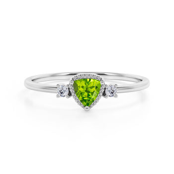 Triad Design 1.35 Carat Trillion Cut Peridot and Diamond Beaded Milgrain Engagement Ring in White Gold