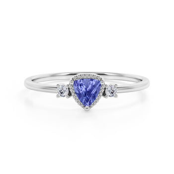 Triad Design 1.35 Carat Trillion Cut Violet Tanzanite and Diamond Beaded Milgrain Engagement Ring in White Gold