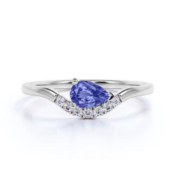 East West 1 Carat Teardrop Lavender Tanzanite and Diamond Curved Engagement Ring in White Gold