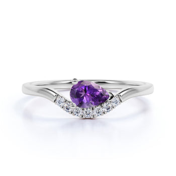 East West 1 Carat Teardrop Aura Amethyst and Diamond Curved Engagement Ring in White Gold