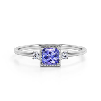 Simple 3 Stone Design 1.10 Carat Square Cut Blue Tanzanite and Diamond Vintage Engagement Ring in White Gold