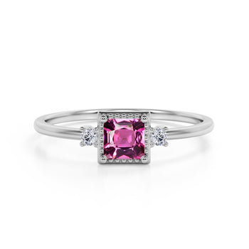 Simple 3 Stone Design 1.10 Carat Square Cut Dark Rose Tourmaline and Diamond Vintage Engagement Ring in White Gold