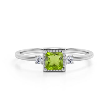 Simple 3 Stone Design 1.10 Carat Square Cut Peridot and Diamond Vintage Engagement Ring in White Gold