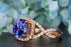 Infinity 2 Carat Round Tanzanite and Diamond Cluster Twisted Engagement Ring in Rose Gold