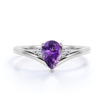 Geometric 1.75 Carat Pear Lilac Amethyst and Diamond Contoured Engagement Ring in White Gold