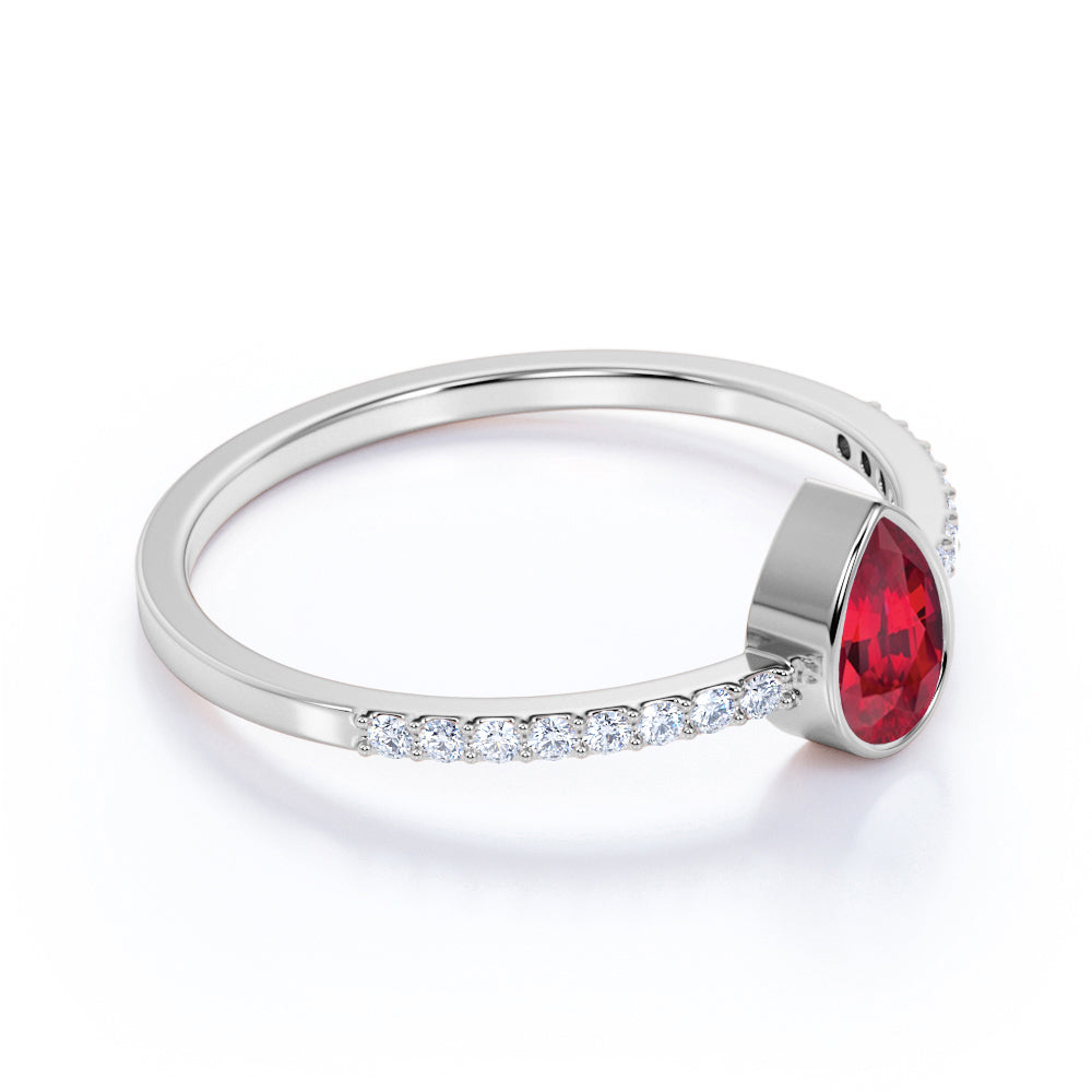 Petite Bezel Set Teardrop Ruby and Fishtail Diamond Engagement Ring in White Gold