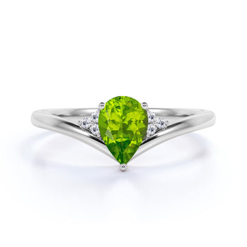 Geometric 1.75 Carat Pear Extraterrestrial Peridot and Diamond Contoured Engagement Ring in White Gold