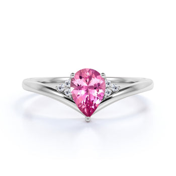 Geometric 1.75 Carat Pear Orange Pink Tourmaline and Diamond Contoured Engagement Ring in White Gold