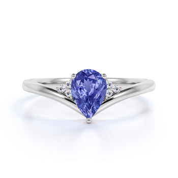 Geometric 1.75 Carat Pear Purple Tanzanite and Diamond Contoured Engagement Ring in White Gold