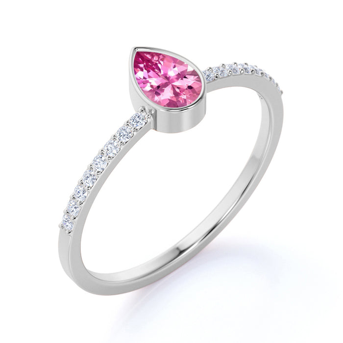 Petite Bezel Set Teardrop Pink Tourmaline and Fishtail Diamond Engagement Ring in White Gold