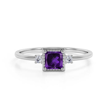 Simple 3 Stone Design 1.10 Carat Square Cut Amethyst and Diamond Vintage Engagement Ring in White Gold