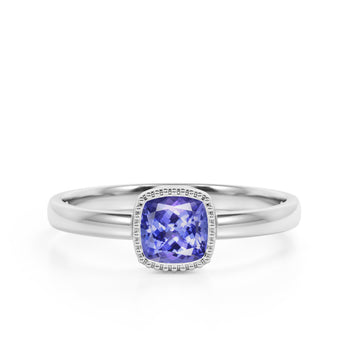 Vintage Style 1.50 Carat Cushion Cut Purple Tanzanite Solitaire Engagement Ring in White Gold