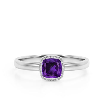 Vintage Style 1.50 Carat Cushion Cut Amethyst Solitaire Engagement Ring in White Gold