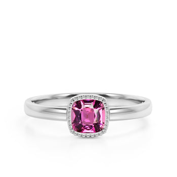 Vintage Style 1.50 Carat Cushion Cut Red Rubellite Tourmaline Solitaire Engagement Ring in White Gold