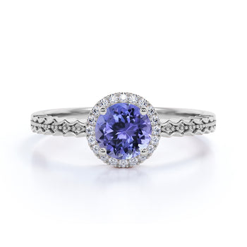 Zigzag 1.50 Carat Round Dark Teal Tanzanite and Diamond Wave Engagement Ring in White Gold