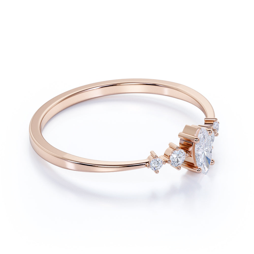 Limited Time Sale Marquise Shape Authentic Diamond and Dainty Stackable Band in Rose Gold