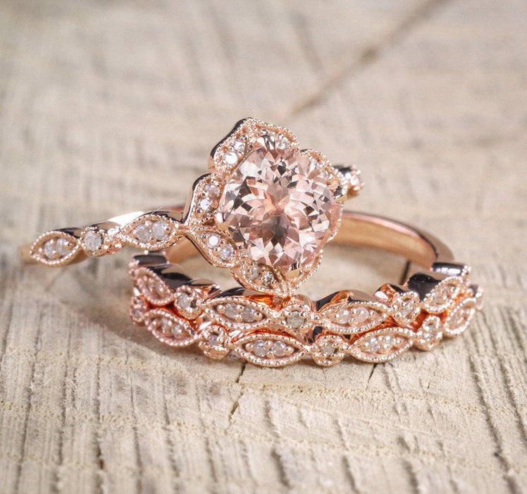 Limited Time Sale 2.25 carat Morganite Diamond Trio Wedding Bridal Ring Set in 10k Rose Gold with Engagement Ring & 2 Wedding Bands