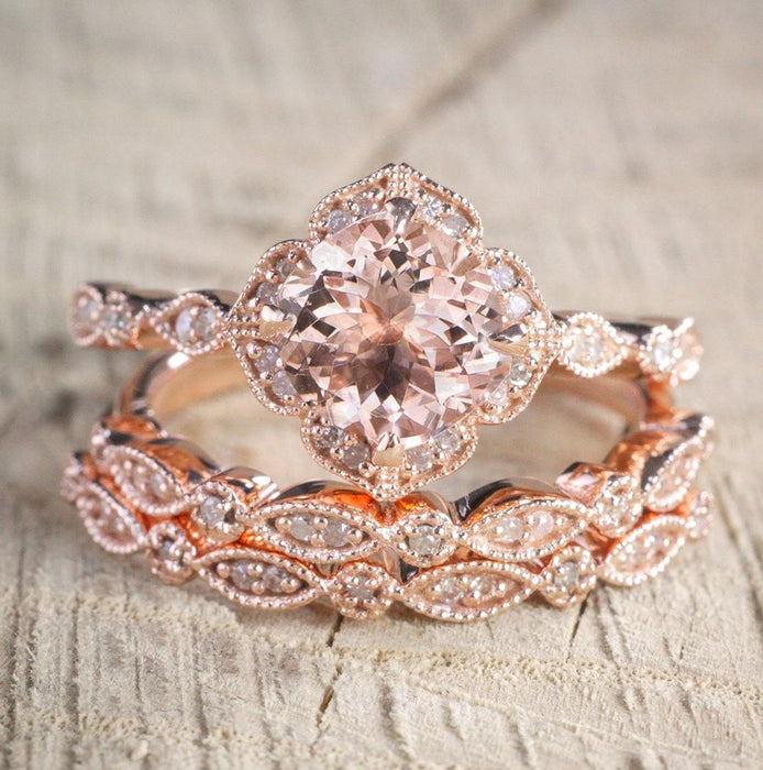 Limited Time Sale 2.25 Carat Morganite Diamond Trio Wedding Bridal Ring Set  In 10k Rose Gold