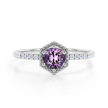 Elegant Hexagon Style 1.75 Carat Round Brilliant Amethyst and Diamond Engagement Ring in White Gold