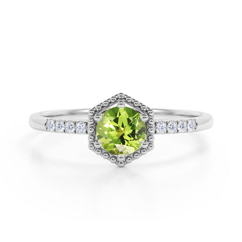 Elegant Hexagon Style 1.75 Carat Round Brilliant Peridot and Diamond Engagement Ring in White Gold