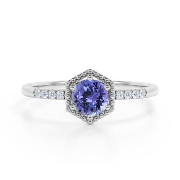 Elegant Hexagon Style 1.75 Carat Round Brilliant Blueberry Tanzanite and Diamond Engagement Ring in White Gold