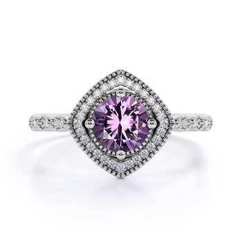 Vintage Art Deco 2 Carat Round Druzy Amethyst and Diamond Best Engagement Ring in White Gold