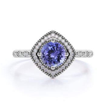 Vintage Art Deco 2 Carat Round Violet Tanzanite and Diamond Best Engagement Ring in White Gold