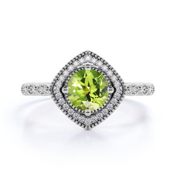 Vintage Art Deco 2 Carat Round Mint Green Peridot and Diamond Best Engagement Ring in White Gold