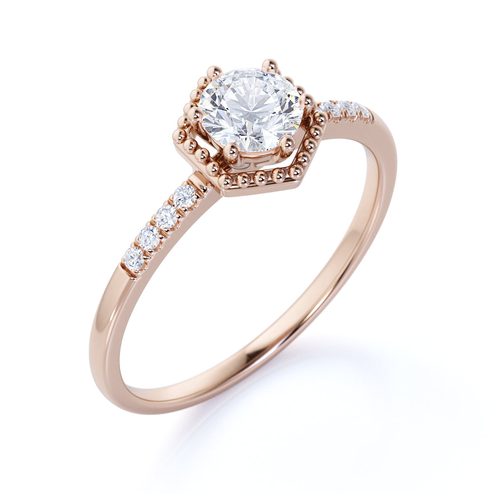 Elegant Hexagon Style 0.55 ct TDW Round Brilliant Diamond Engagement ring in Rose Gold