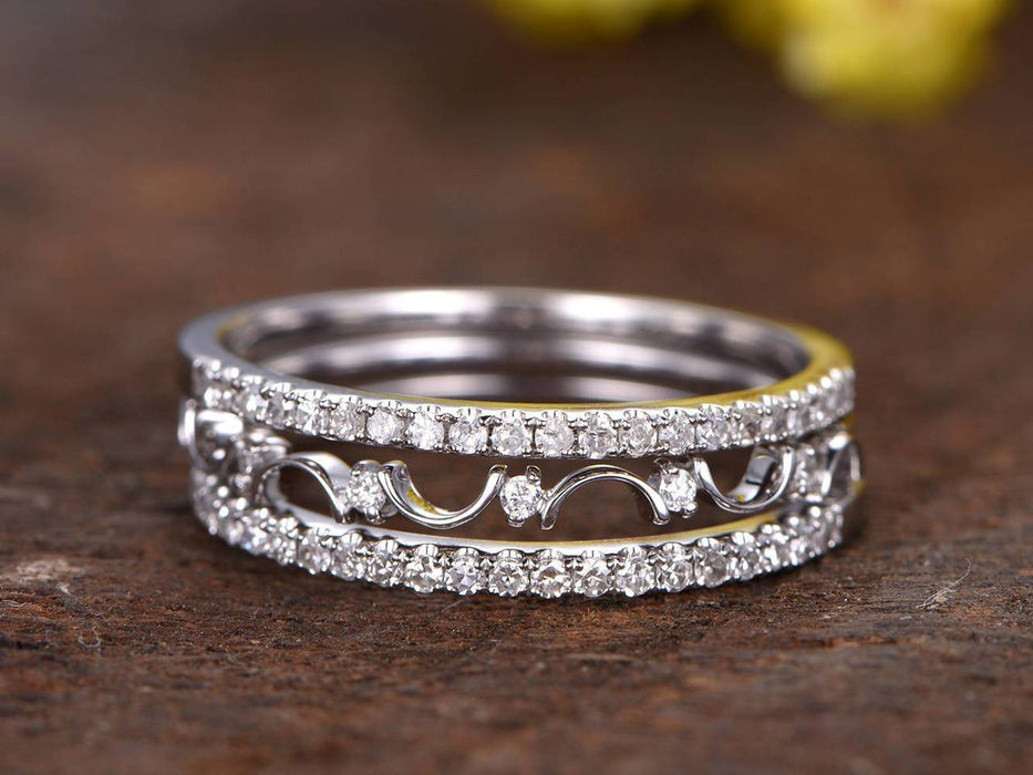 1 Carat antique artdeco Trio Wedding Ring Bands in White Gold