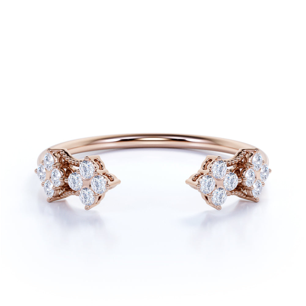 Free Size Brilliant Round Authentic Diamond and Antique Open Stackable Wedding Band in Rose Gold