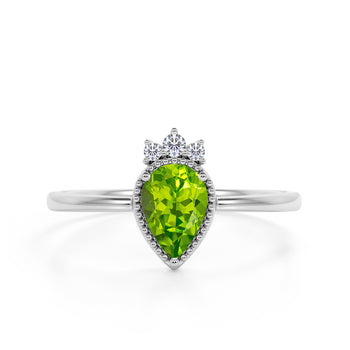 Bezel Design 1.15 Carat Pear Shaped Peridot and Diamond Crown Engagement Ring in White Gold