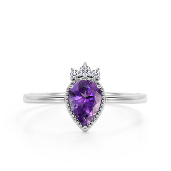 Bezel Design 1.15 Carat Pear Shaped Amethyst and Diamond Crown Engagement Ring in White Gold