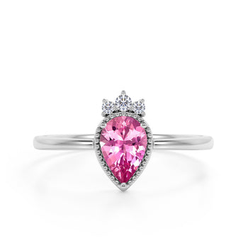 Bezel Design 1.15 Carat Pear Shaped Vivid Pink Tourmaline and Diamond Crown Engagement Ring in White Gold