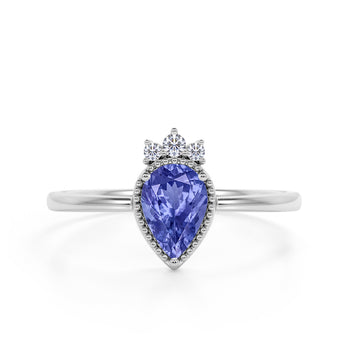 Bezel Design 1.15 Carat Pear Shaped Lavender Tanzanite and Diamond Crown Engagement Ring in White Gold