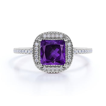 Large 3 Carat Princess Cut Smoky Amethyst and Diamond Halo Unique Engagement Ring in White Gold