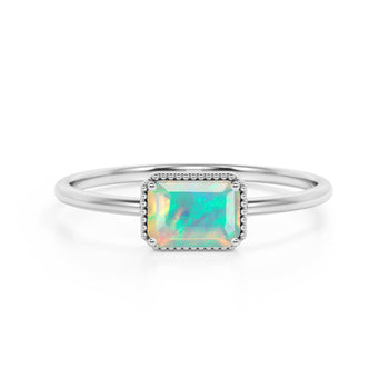 Horizontal 1.75 Carat Emerald Cut Black Australian Opal and Modern Solitaire Engagement Ring in White Gold