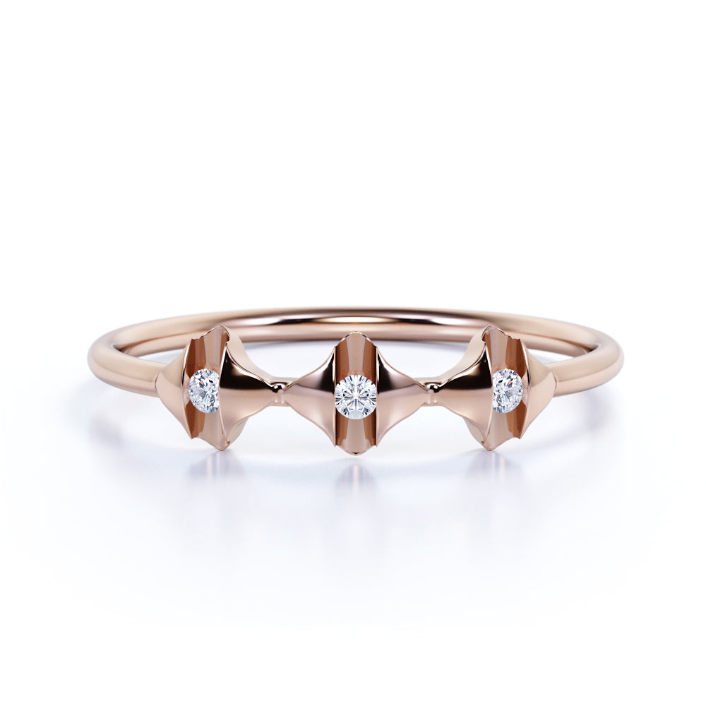 Dashing 3 Stone Round Authentic Diamond and Dainty Tension Stacked Wedding Ring Band in Rose Gold